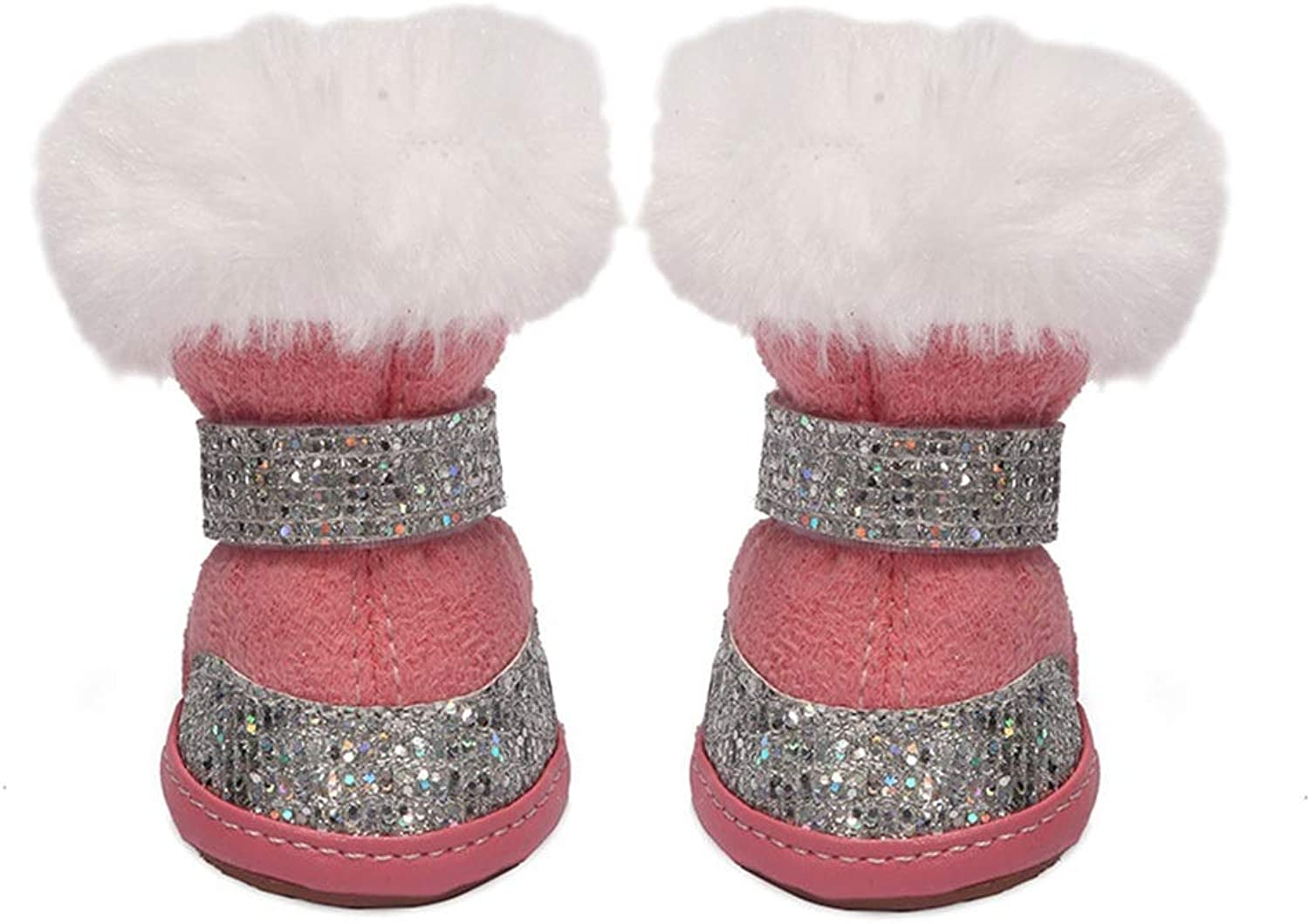 AUSWIEI Pet Dog shoes Puppy shoes Plus Velvet Thick Waterproof Cold Cotton shoes (color   Pink, Size   4 )