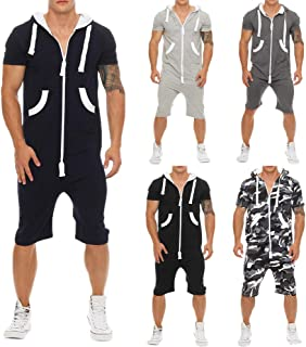 Men Casual Jumpsuits One Piece Zipper Hoodie Bodysuits Drawstring Romper Sleeveless Overalls with Pocket Fitness Sportswea...