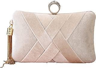 Womens Beaded Finger Ring Velvet Evening Bag Wedding Party Clutch Purse Handbag