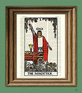 The Magician Major Arcana Tarot Card Deck Print Over an Upcycled Vintage Dictionary Page Book Art