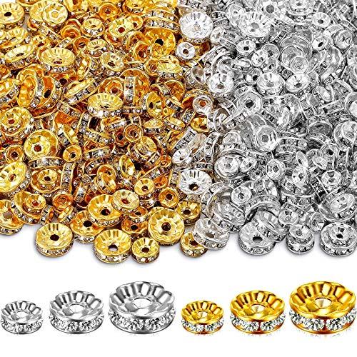 600 Piezas Cuentas Espaciadoras Rondelle de Cristal de 6 mm 8 mm...