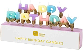 """Talking Tables Happy Birthday Candles Cake Topper, Wax Height 2cm, 0.8"""", Gold And Pastel colors"""