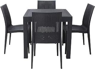 ガーデンテーブル80×80cm・チェア4脚セット LA・TAN (C361-5A)