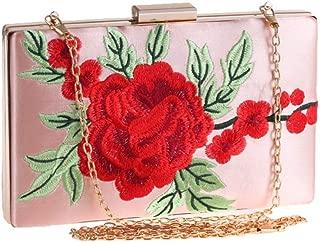 ETH Ladies's Rose Embroidered Flower Bag Banquet Clutch Wedding Dress Evening Bag Chain Shoulder Messenger Bag Permanent (Color : Pink)