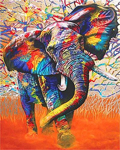DIY-Ölgemälde-Kit, Malen nach Zahlen für Kinder und Erwachsene - bunter Elefant 16 x 20 Zoll (Ohne Rahmen)