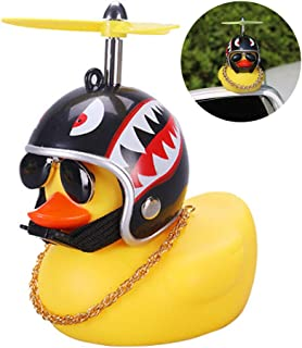 wonuu Rubber Duck Toy Car Ornaments Yellow Duck Car Dashboard Decorations with Take-Copter Helmet for Adults, Kids, Women, Men (Shark)