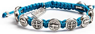 My Saint My Hero Benedictine Blessing Bracelet - Silver-Tone Medals with Hand-Woven Turquoise Cord
