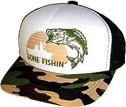 ThatsRad 7-12 Year Kid's Gone Fishin' Fishing Camouflage Camo Snapback Mesh Trucker Hat Cap