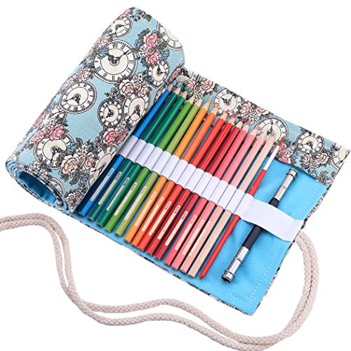abaría - Estuche Enrollable para 72 lapices Colores, portalápices de Lona - Azul Flor 72 (No Incluyendo los lápices)