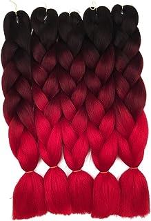 5 Pieces Ombre Synthetic Braiding Hair Jumbo Braids Hair Braiding Kanekalon Mambo Twist Synthetic Hair Extension (24, blac...