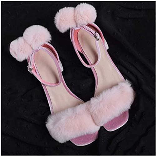 Summer Square Square Square Toe Buckle Strap PU Leather Fur Spliced Simple High Heels Sandals 77a