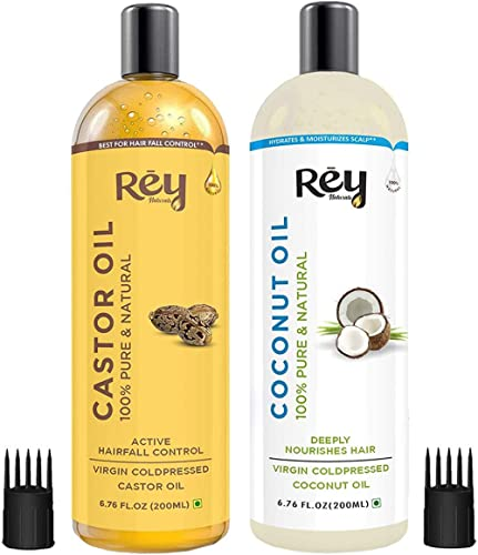 Rey Naturals® Cold-Pressed, 100% Pure Castor Oil & Coconut Oil - Moisturizing & Healing, For Skin, Hair Care, Eyelash...