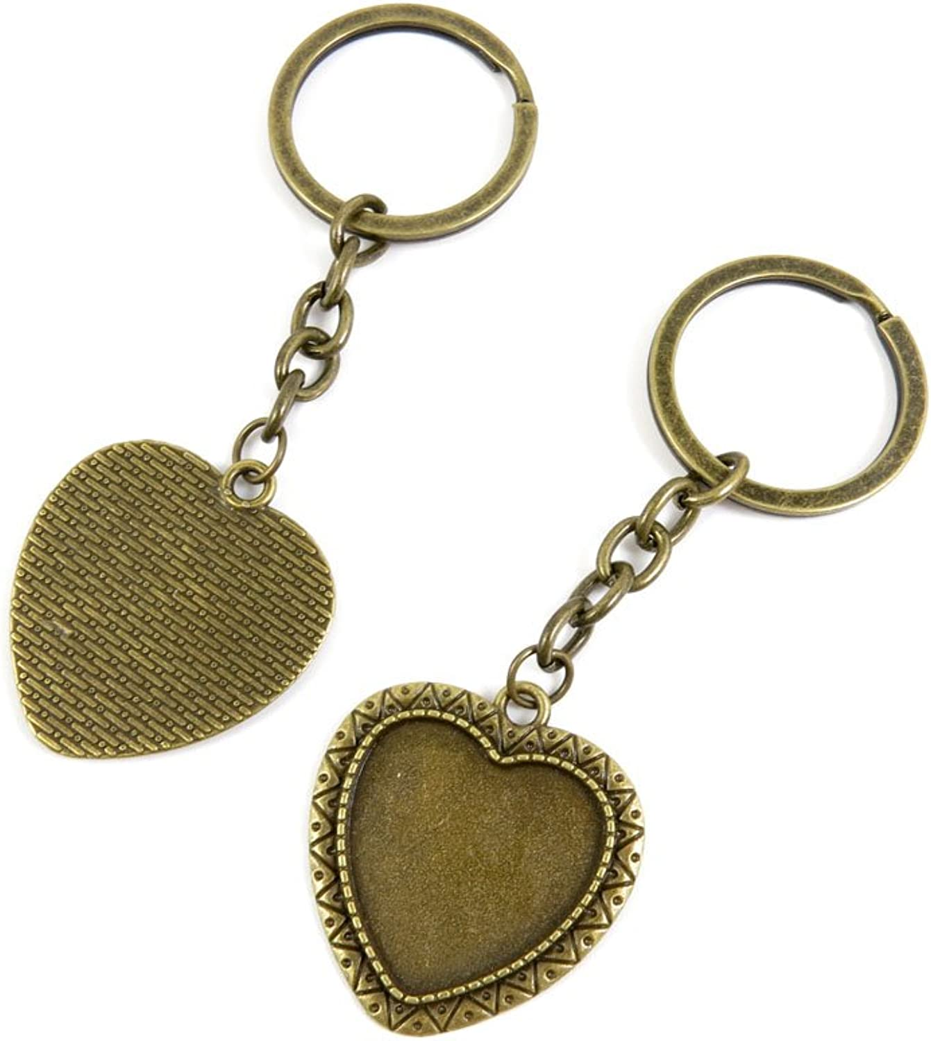 140 Pieces Fashion Jewelry Keyring Keychain Door Car Key Tag Ring Chain Supplier Supply Wholesale Bulk Lots Q9SR3 Heart Cabochon Frame Blanks 25MM