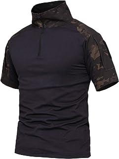 YFNT Camisa Militares De Polo De Collar de pie De Los Hombres Camuflaje Camiseta De Manga Corta Camo T Shirt