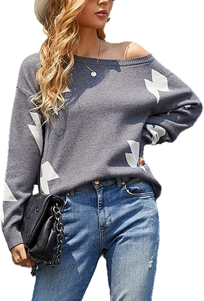 NP Loose Sweater Casual high Neck Long-Sleeved Knitted Sweater Women Printing