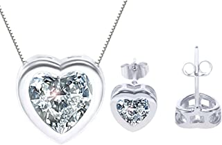 """korpikus® Kristall Strass Juwel Shiny Silver """"Herz"""" Halskette & FREE Passende Ohrringe stellten in Organza-Geschenk-Beutel!"""