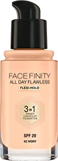 Max Factor Facefinity All Day Flawless, Liquid Foundation, 3 In 1, 042 Ivory, 30 ml