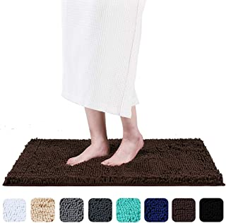 Smiry Luxury Chenille Bath Rug, Extra Soft and Absorbent Shaggy Bathroom Mat Rugs, Machine Washable, Non-Slip Plush Carpet Runner for Tub, Shower, and Bath Room(17''x24'', Brown)