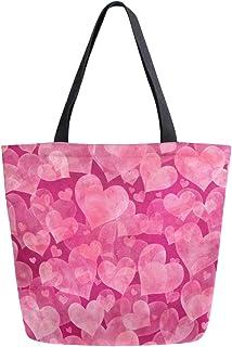 Mnsruu Mnsruu Handtasche/Schultertasche aus Segeltuch, für Damen, mit Griff, Einkaufstasche, Pink mit Herzen