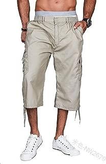 Men 3/4 Pants Elastic Waistband Shorts Loose Fit Knee-Length Cargo Shorts