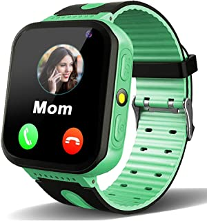 MiKin Kids Smart Watches for Girls Boys GPS Tracking Watch with Two Call SOS Voice Message Front Camera Math Game LED Flashlight Alarm Clock 1.44