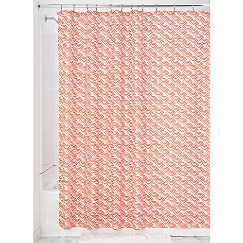 Price comparison product image iDesign Lyssa Shower Curtain,  Polyester Bathroom Curtain With Pattern,  183 x 183 cm,  Orange