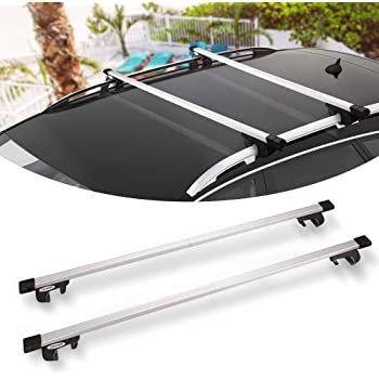 Amazon Com Bunker Indust 58 Rooftop Cross Bars Universal Side Rail Mounted Adjustable Aluminum Roof Rack Crossbars With Keyed Locking Mechanism For Vehicles Carry Your Kayak Cargo Basket Roof Bag Safely Automotive