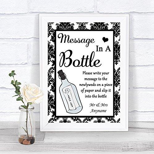 Zwarte & witte damastboodschap in een fles gepersonaliseerd huwelijksbord Framed Oak Small Zwart/Wit