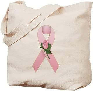 CafePress Breast Cancer Ribbon 2 Natural Canvas Tote Bag, Reusable Shopping Bag