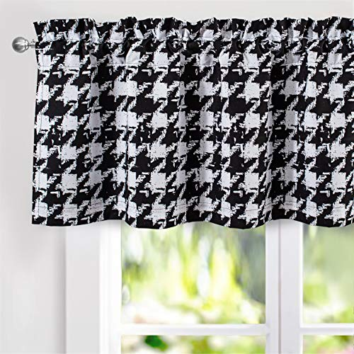 DriftAway Houndstooth Vintage Plaid Printed Pattern Thermal Insulated Blackout Window Curtain Valance Rod Pocket Single 52 Inch by 18 Inch Plus 2 Inch Header Black