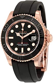 Yacht-Master Automatic Black Dial 18kt Everose Gold Black Rubber Strap Mens Watch 116655BKSRS