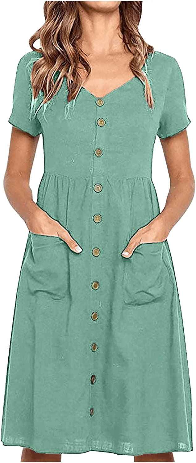 Rpvati Women's Casual Solid Color Short-Sleeve V-Neck Pocket Buttoned A-line Dress