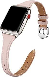 WFEAGL Leather Bands Compatible with Apple Watch 38mm 40mm 42mm 44mm, Top Grain Leather Band Slim & Thin Wristband for iWa...
