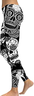 keepwo Women's Skulls Pirate Print Leggings Ladies Gym Running Yoga Sports High Waist Stretchable Black Leggings