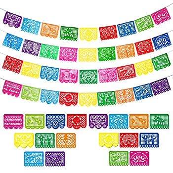 4 Packs Mexican Party Banner Large Plastic Papel Picado Banner Fiesta Plastic Banner Mexican Fiesta Hanging Banner Flags Cino de Mayo Fiesta Party Decorations 4 Different Designs 60 Feet Long Totally