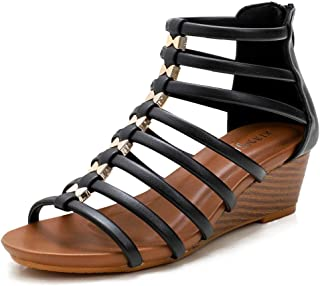 Sponsored Ad - Catarry Women Roman Cross Band Strap Wedge Sandals Breathable Casual Dress Rhinestone Summer Sandals