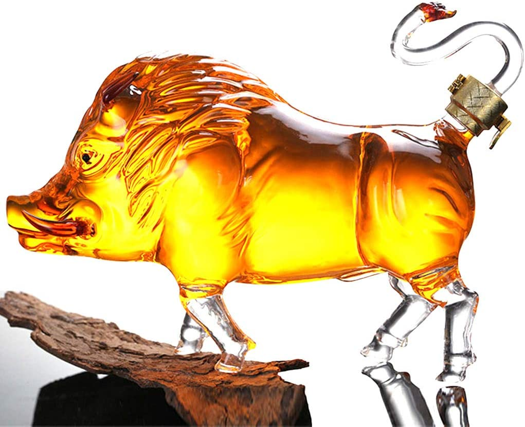 store DONGSHUAI Wild Boar-Shaped Glass Wine Jar Whisky 1000ML Decante Max 55% OFF