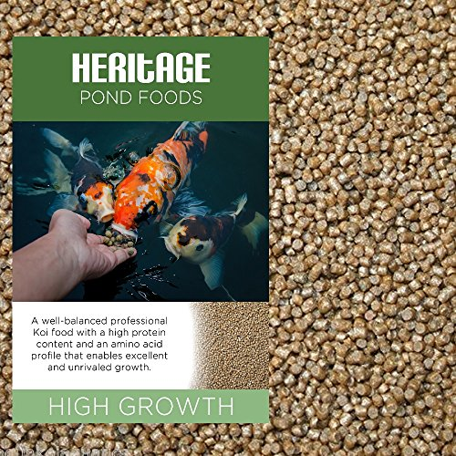 HERITAGE HIGH GROWTH PREMIUM KOI FISH FOOD PELLETS GARDEN POND FEED HIGH PROTEIN GROWER (1kg)