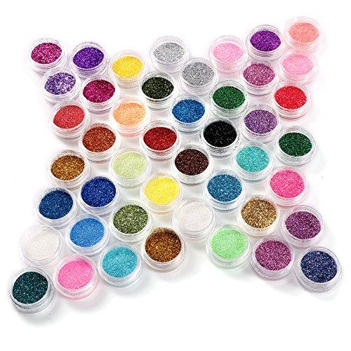 45tlg Glitterstaub Glitzer Steine Glitter Pulver Pailetten DIY Glitzerpuder Nageldesign Set