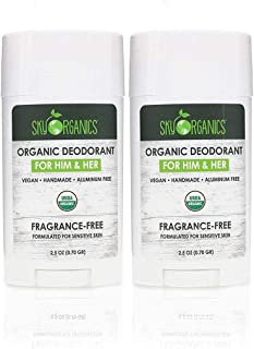 Organic Deodorant by Sky Organics (2 pack)- 100% Natural Antiperspirant- Aluminum-Free, Vegan, Fragrance-free, Gender Neutral, Non-GMO, Paraben-Free 24H Protection for Him & Her- Handmade in USA