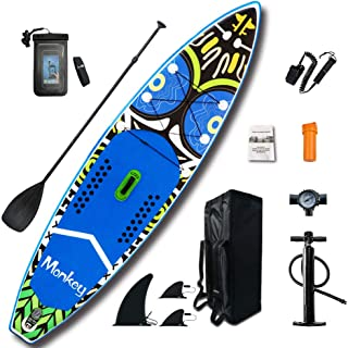 FeatherLite 11' Inflatable SUP Set | Inflatable Stand Up Paddle Board with Accessories & Carry Bag | Bottom Fins for Paddling, Surf Control, Non-Slip Deck