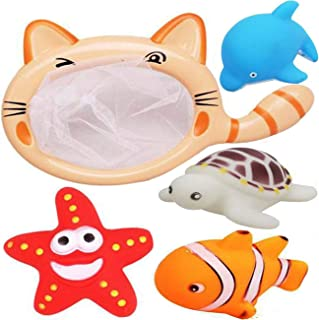 NiGHT LiONS TECH 5 Pcs Bath Toys Set Fishing Net Floating Animals Fish Tortoise Dolphin Starfish Water Toy Baby Bathroom Pool Bath Game for Kids Toddler
