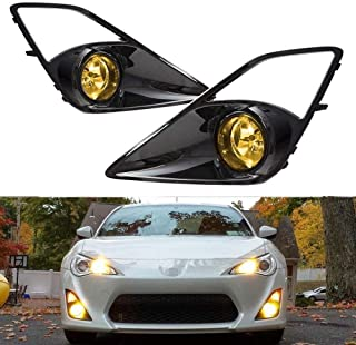 iJDMTOY Complete JDM 3000K JDM Yellow Fog Light Kit For 2013-2016 Scion FR-S w/High-Gloss Bezel Covers and Complete Relay Harness w/Switch