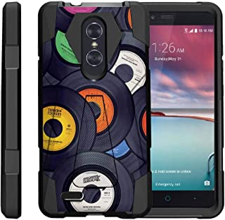 TurtleArmor | Compatible with ZTE ZMax Pro Case | ZTE Blade X Max Case [Dynamic Shell] Absorber Impact Shock Shell Cover Hybrid Silicone Hard Kickstand Music - Vintage Record Discs