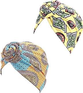 3 paquetes de sombrero de maquillaje con nudos para mujeres algod/ón Ever Fairy turbante africano con anudado