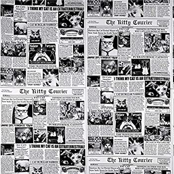 Timeless Treasures Cat News Newsprint Fabric Black Fabric By The Yard