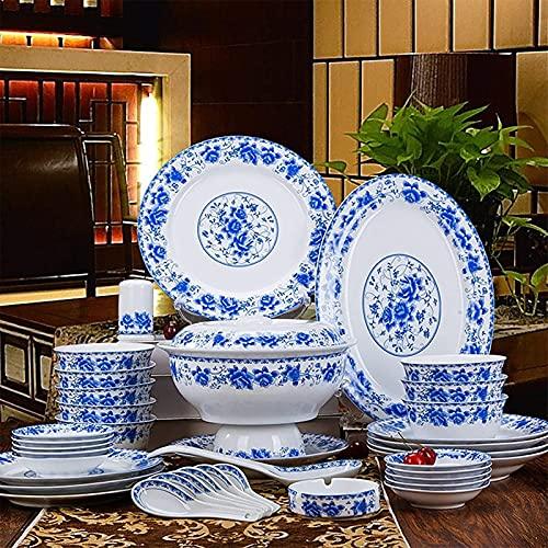 ZRB Juego de Platos, Conjuntos de vajillas de 56 Piezas de China, Conjunto de vajillas de Porcelana Premium, Cocina de Cocina y Platos para cenar Platos Placas de Placas Servicio para 10