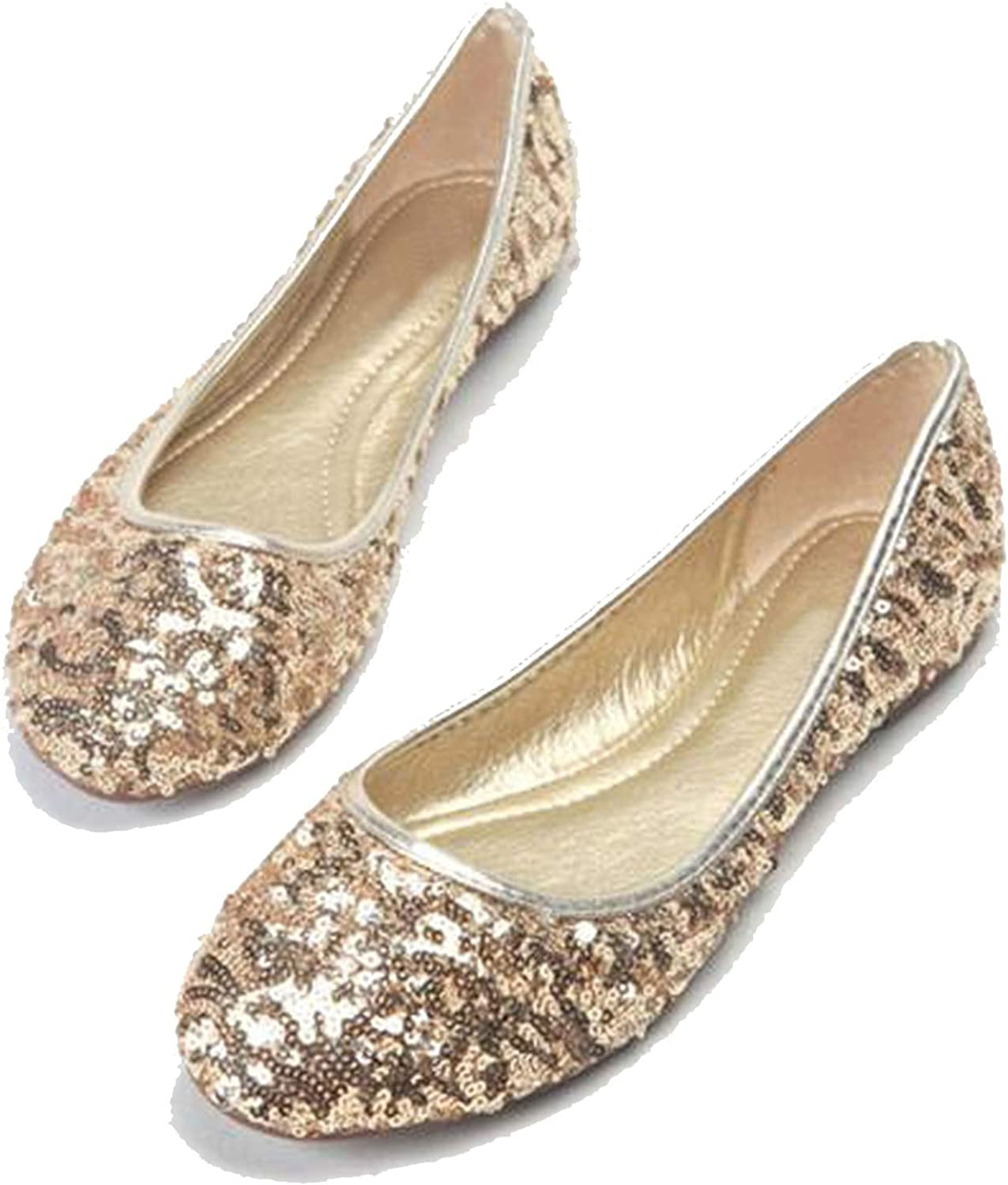 Baixa Celebrity Style Classic Womens Glitter Sequin Flats Ladies Ballerina Flat shoes New C332