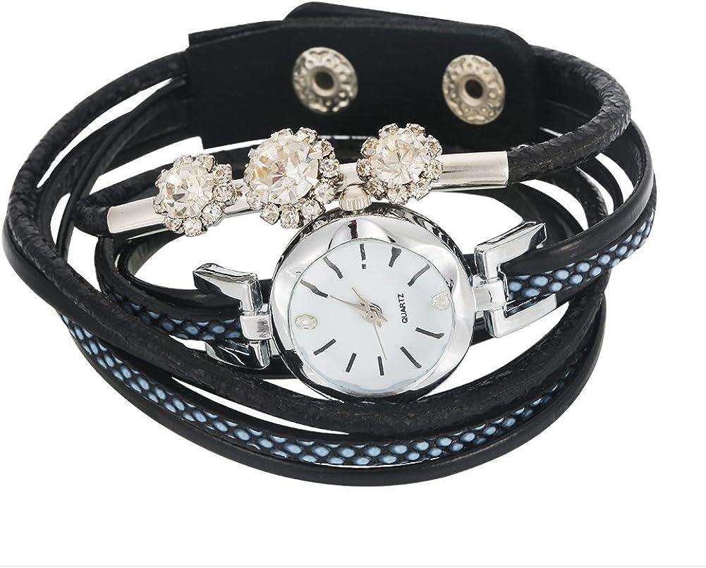 yuyte Reloj de pulsera de cuarzo para mujer, correa de poliuretano, esfera redonda, 4 colores