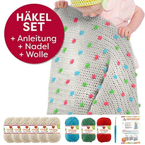 myboshi Häkel-Set Babydecke Pünktchen | aus No.2 | Anleitung + Wolle | mit Häkelnadel | Baby-Decken-Häkel-Set | Elfenbein Kaktus Tomate Aquamarin